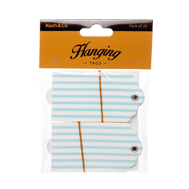 Hanging Gift Tags Stripes 5x9cmH pk20 Baby Blue