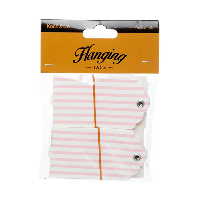 Hanging Gift Tags Stripes 5x9cmH pk20 Baby Pink
