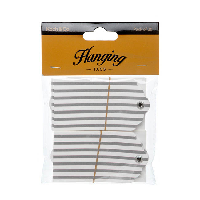 Gift Tags & Labels - Hanging Gift Tags Stripes Silver (5x9cmH) Pack 20