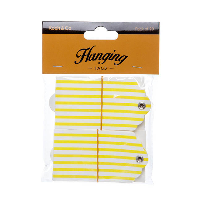 Hanging Gift Tags Stripes 5x9cmH pk20 Yellow