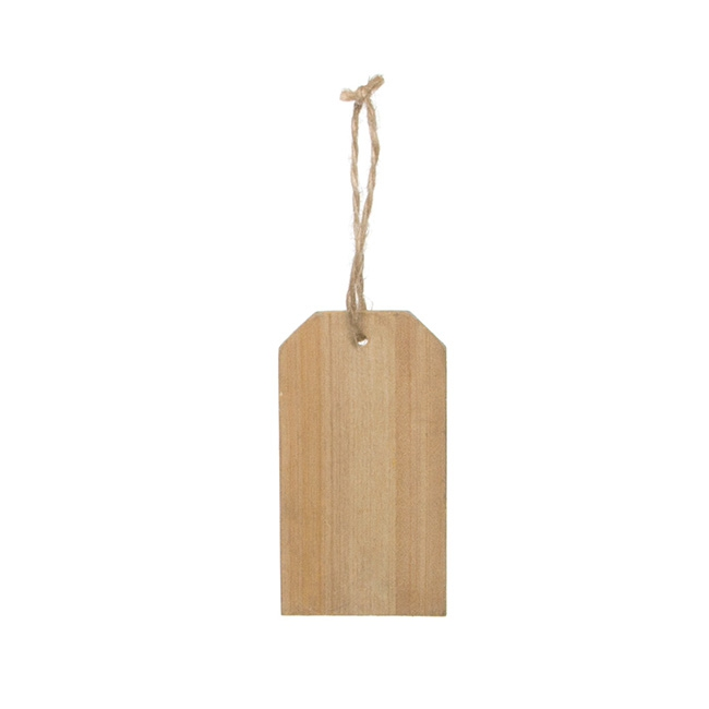 Wooden Hanging Tags Rectangle 10 Pack Natural (5x9cmH)