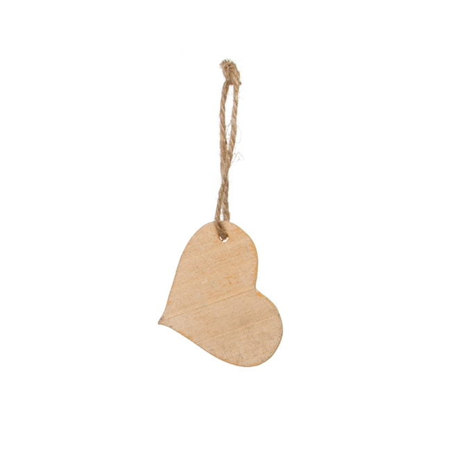 Wooden Hanging Tags Heart 10 Pack Natural (6.5x5cmH)