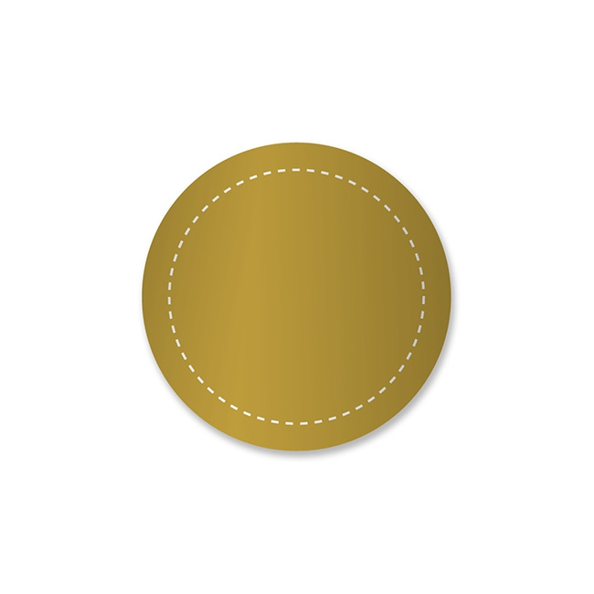 Gift Tags & Labels - Gift Seal Round Stitch Gloss Gold (3.5cmD) Pack 40