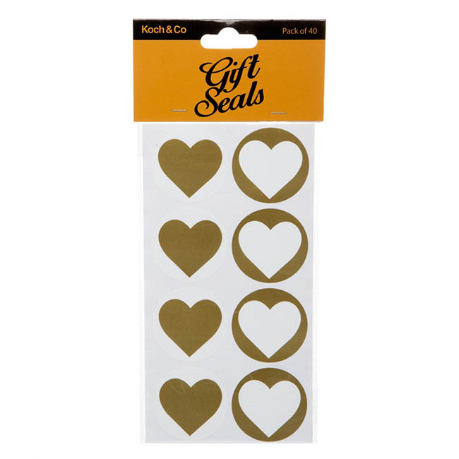 Gift Seal Heart Round 4.5cmD Gloss Gold 40pcs