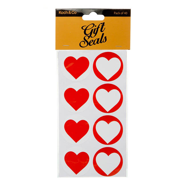 Gift Seal Heart Round 4.5cmD Gloss Red 40pcs