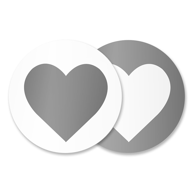 Gift Tags & Labels - Gift Seal Heart Round Gloss Silver (4.5cmD) Pack 40