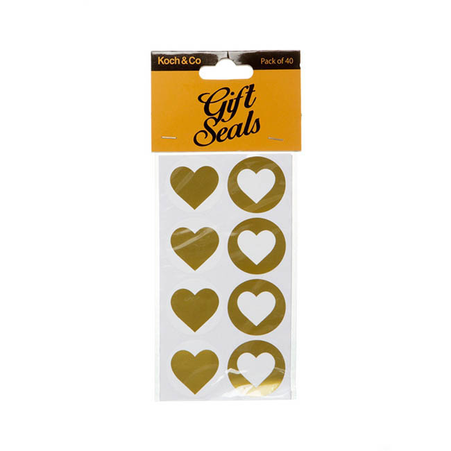 Gift Seal Heart Round 3.5cmD Gloss Gold 40pcs