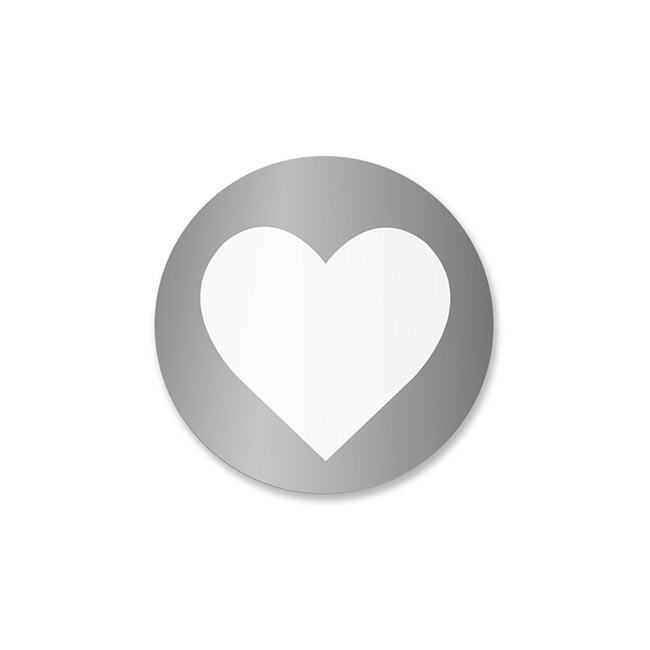 Gift Tags & Labels - Gift Seal Heart Round Gloss Silver (3.5cmD) Pack 40