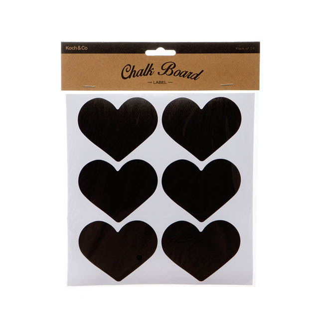 Gift Tags & Labels - Heart Chalkboard Labels (8x6.5cm) Pack 24