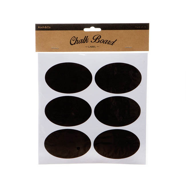 Gift Tags & Labels - Oval Chalkboard Labels (8x5.5cm) Pack 24