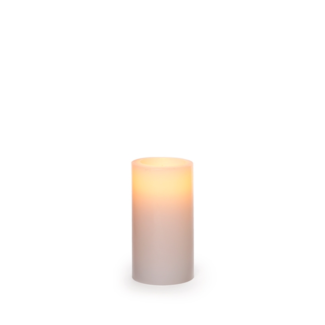 Candle Pillar Wax Round LED 5Dx9.5cmH White