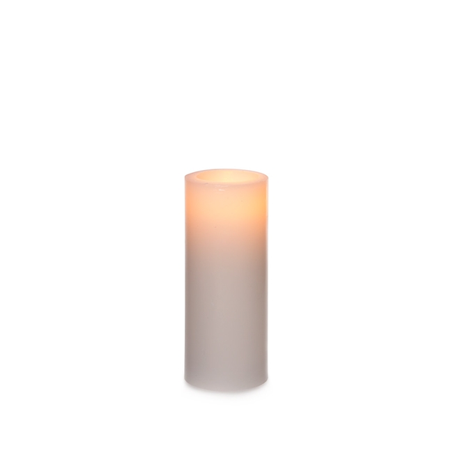 Candle Pillar Wax Round LED 5Dx12.5cmH White