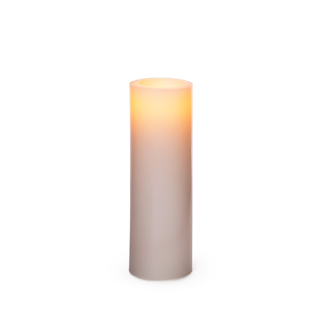 LED Candles - Wax LED Pillar Candle Round White (5Dx15.5cmH)