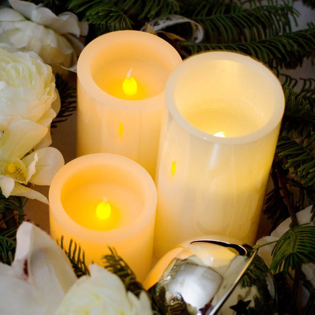 LED Candles - Wax LED Pillar Candle Round White (7Dx7.5cmH) 2AAA