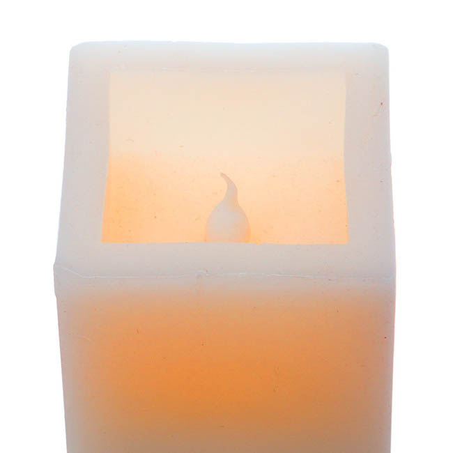 LED Candles - Wax LED Pillar Candle Square White (7x7x19cmH) 2AAA