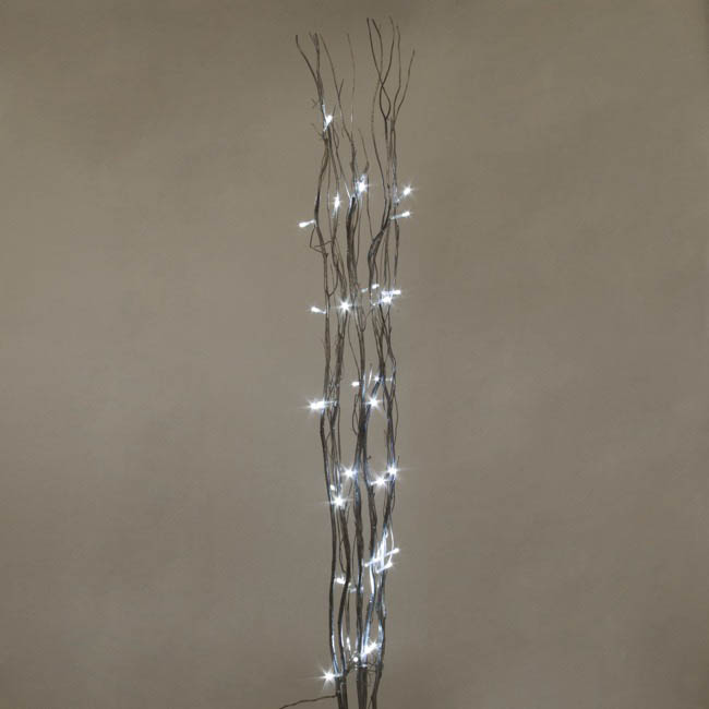 LED Decorations - LED Willow Branch 3AA Silver (1.2m) Pack 5