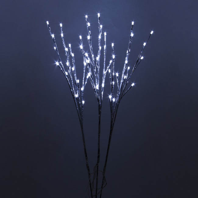 LED Branch with Seed Lights 240V Set of 3 Silver (70cmH)