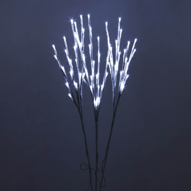LED Branch with Seed Lights 240V Set of 3 White (70cmH)