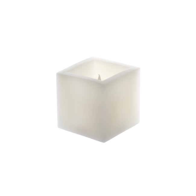 LED Candles - Wax LED Pillar Candle Square White (7.5x7.5x7.5cmH) 2AAA