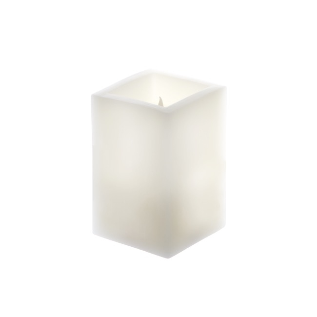 LED Candles - Wax LED Pillar Candle Square White (7.5x7.5x14.5cmH) 2AAA