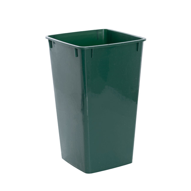 Floral Display Vase - Display Flower Bucket Plastic Square 4L 16x16x26cmH Green
