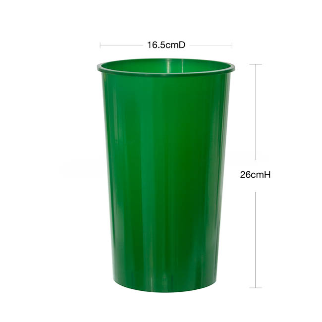 Floral Display Vase - Display Flower Bucket Plastic Round 4L 16.5Dx26cmH Green