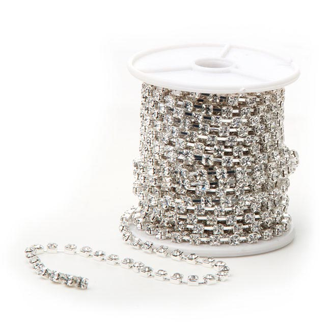 Corsage Beaded Florist Wire - Diamante Chain Décor Roll 1440 Stones Silver (9.5m)