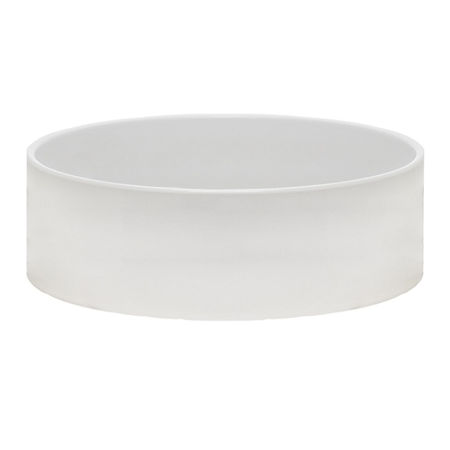 Florist Flower Pots - Ceramic Bondi Low Cylinder Bowl Glossy White (30Dx12cmH)