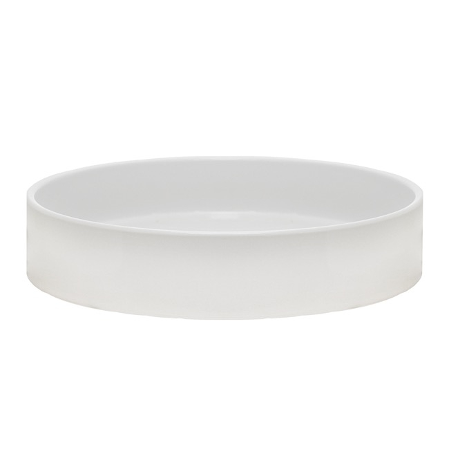 Florist Flower Pots - Ceramic Bondi Low Cylinder Bowl Glossy White (33Dx7cmH)