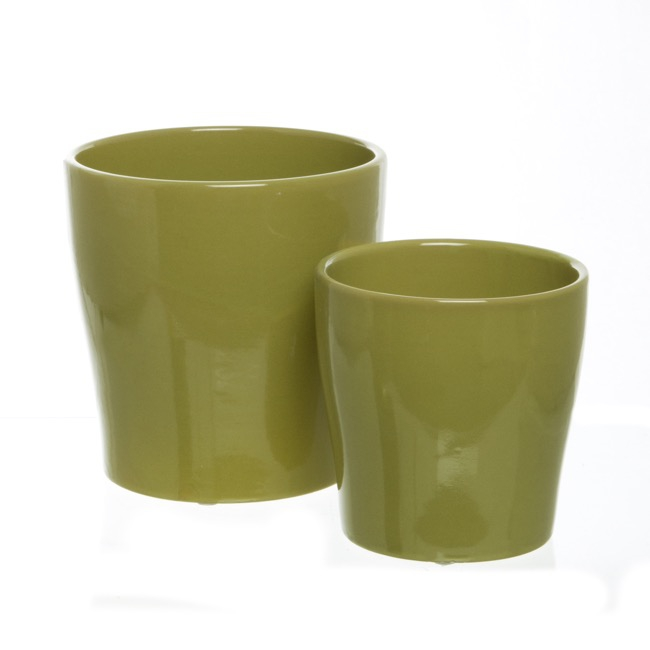 Ceramic Bondi Concial Pot Set of 2 Moss (16Dx16cmH)