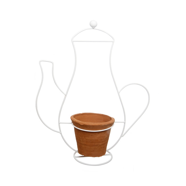 Terracotta Pot with White Metal Coffee Pot Stand 34x14x41cmH