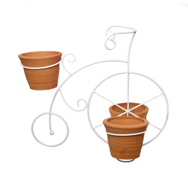 Vintage Metal Bicycle with 3 Terracotta Pots (37x24x32cmH)