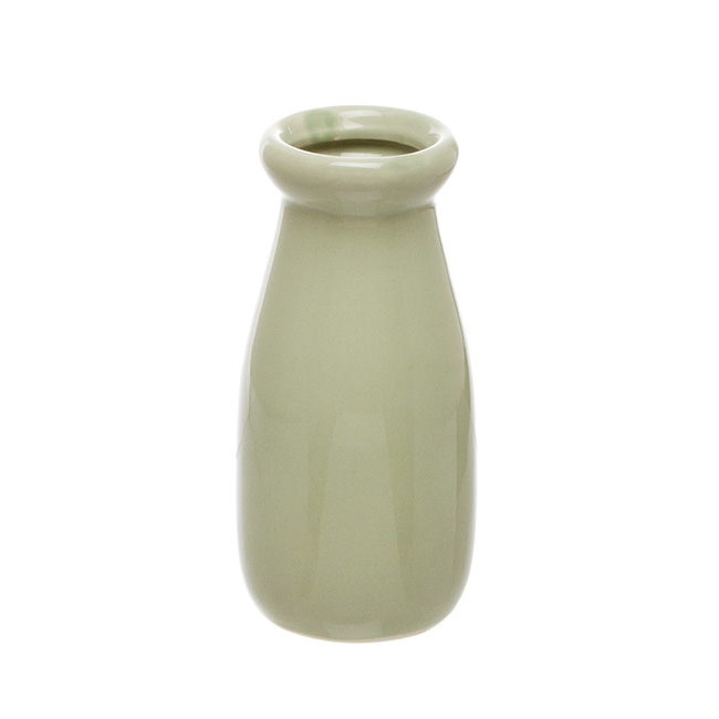 Ceramic Milk Bottle Green (6.5Dx14cmH)