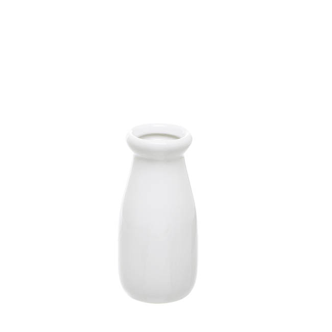 Ceramic Milk Bottle White (6.5Dx14cmH)