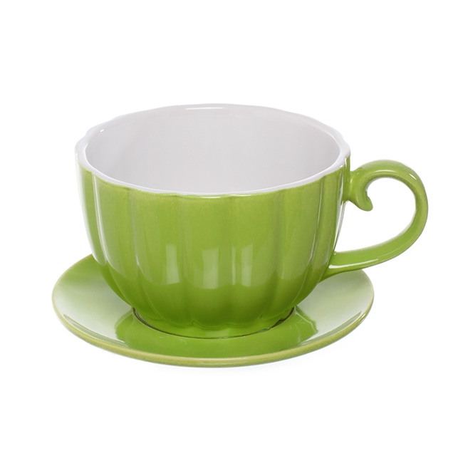 Ceramic Cup Pot with Saucer Mint (17.5Dx13cmH)