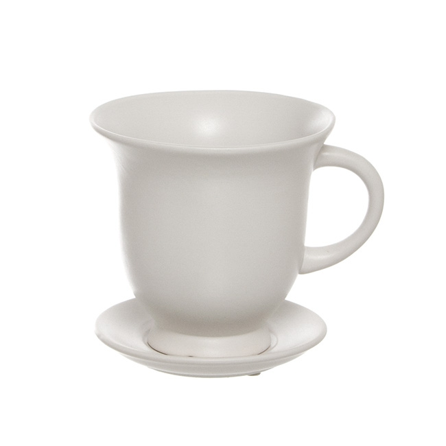 Ceramic Teacup with Saucer Matte Finish White (15.5Dx15cmH)