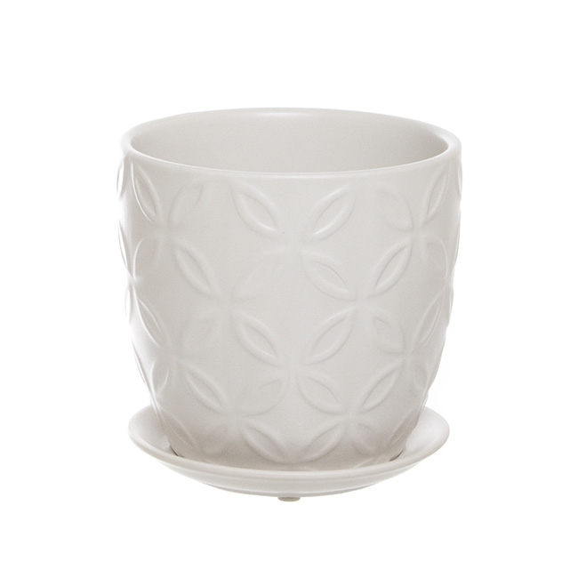 Ceramic Flower Pot with Saucer Matte Finish White(15Dx15cmH)