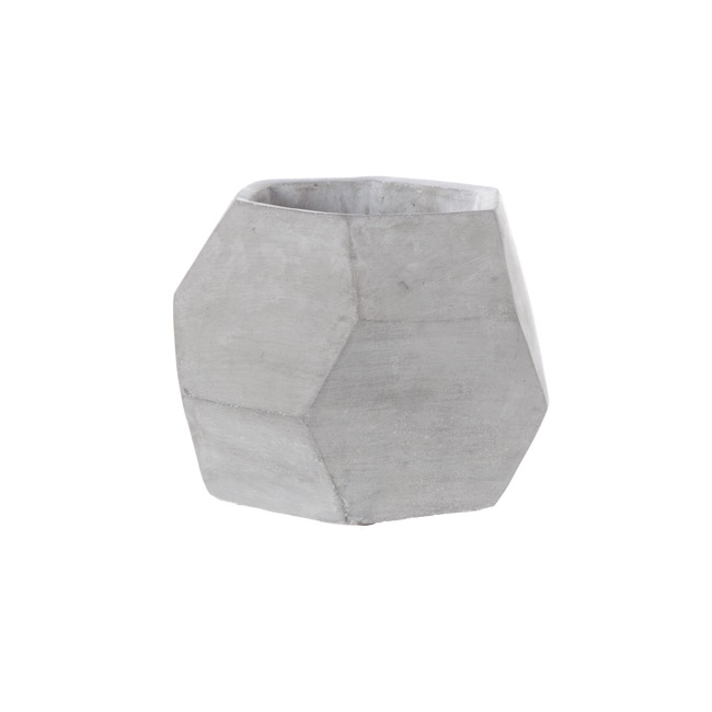 Cement Geometric Pot Faceted Fish Bowl Grey (18cmDx14cmH)