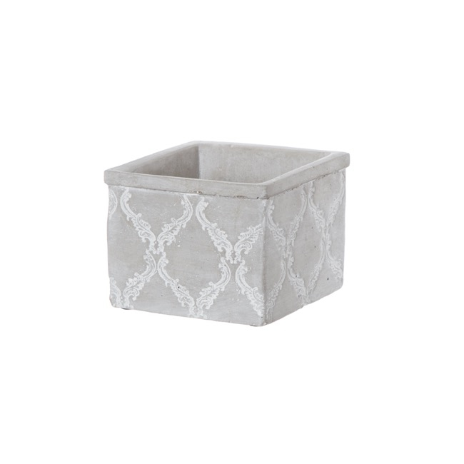 Cement Cube with Provincial Damask Grey (14.5x14.5x11.5cmH)