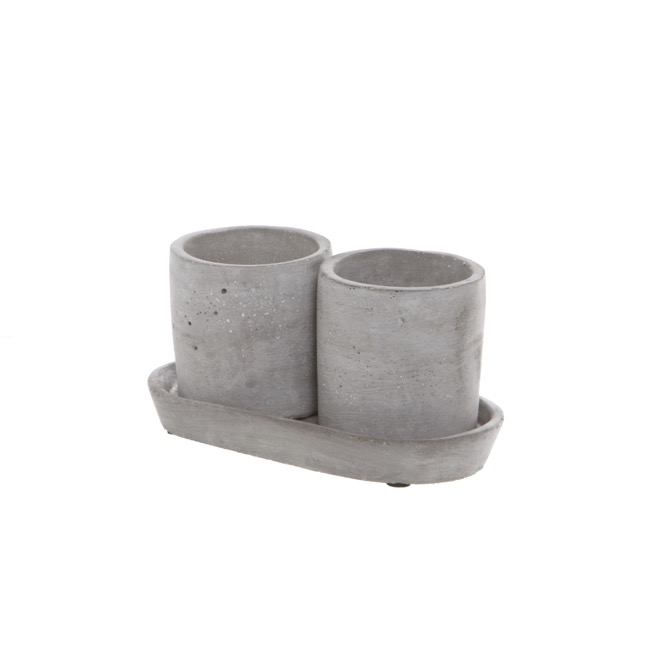 Cement Cylinder Pot Set 2 with Tray Grey (16x9x9cmH)