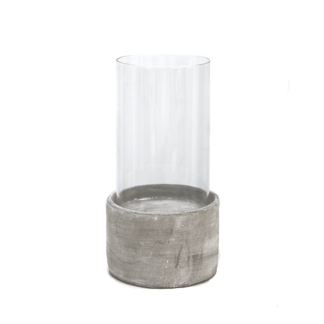 Cement Candle Holder with Glass Tube Grey (11.5cmx21.5cmH)