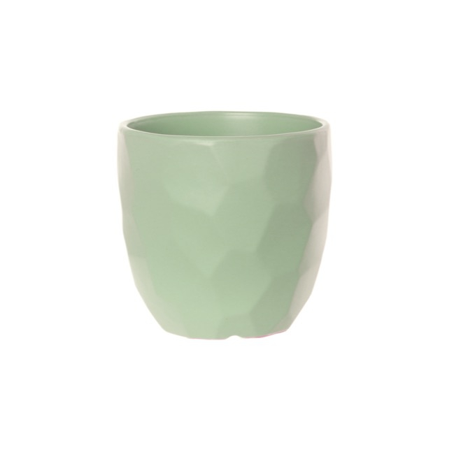 Ceramic Geometric Flower Pot Glazed Mint (15cmDx13.5cmH)