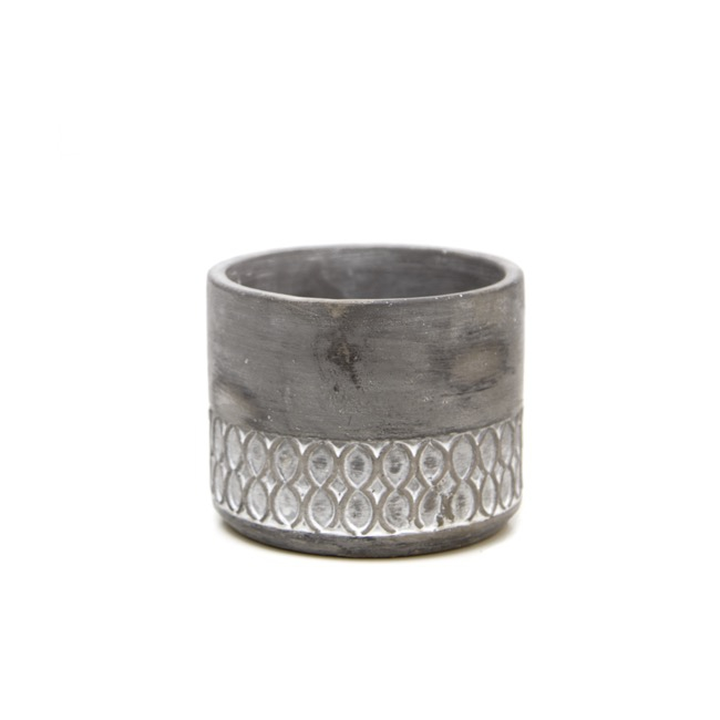 Cement Pot Round with Pattern Grey (14Dx11.5cmH)