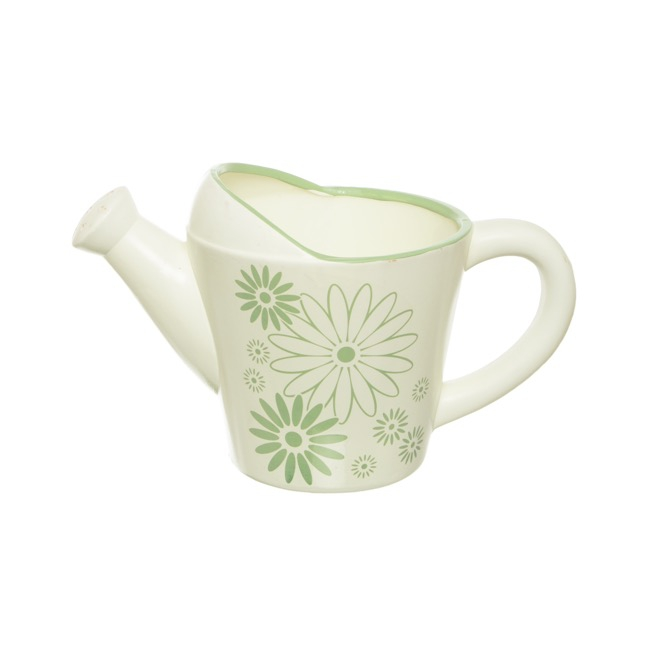 Ceramic Watering Can with Flower Pattern Mint (28x16x17cmH)