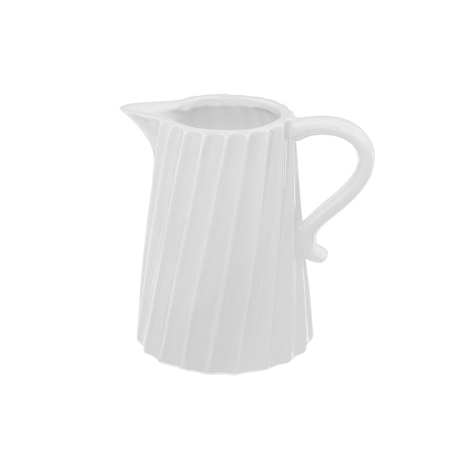 Ceramic Jug Twisted Stripe White (17.2x12x16.6cmH)