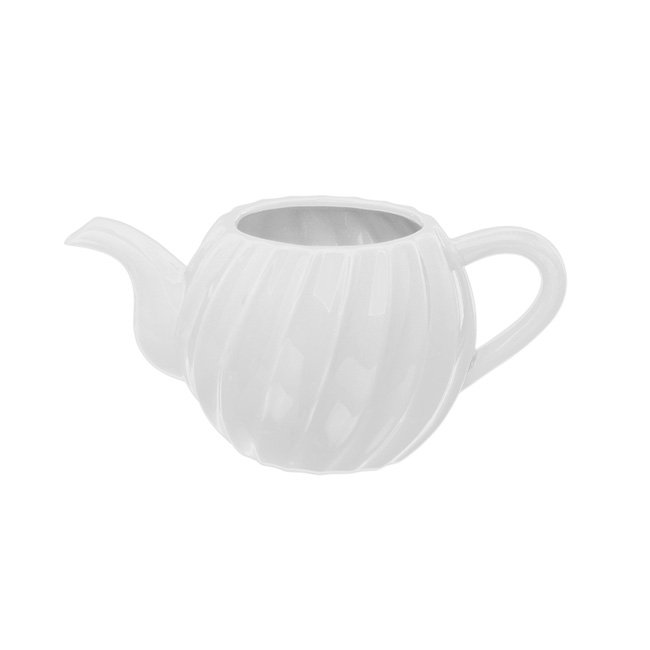 Ceramic Teapot Twisted Stripe White (25.5x15x12cmH)