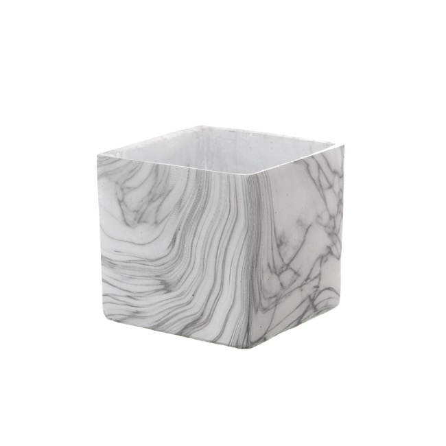 Ceramic Marble Look Pot Cube with Drainage Hole(14x14x13cmH)