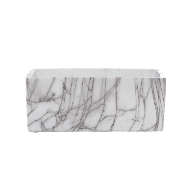 Ceramic Marble Look Pot Trough (24x12x9cmH