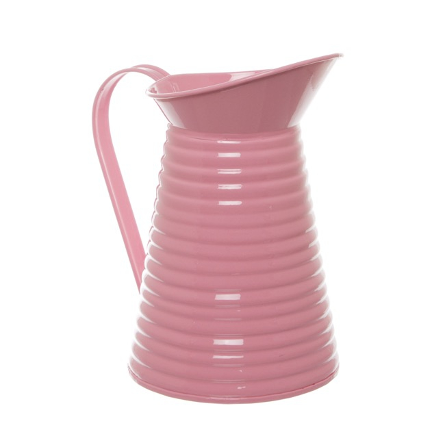 Country Tin Metal Pitcher Soft Pink (12Dx21cmH)