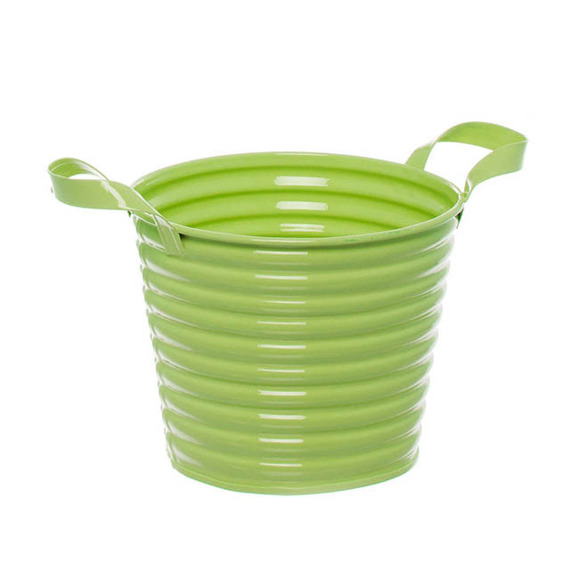 Country Tin Metal Bucket with Handles Lime (13Dx11cmH)